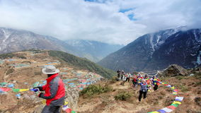 Movement of the clouds on the mountains Himalayas, Namche Bazaar village, Nepal. stock video footage
