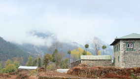 Movement of the clouds on the mountains Himalayas, Phakding village, Nepal stock footage