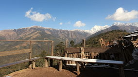 Movement of the clouds on the mountains Himalayas, Takasindu village, Nepal stock video footage