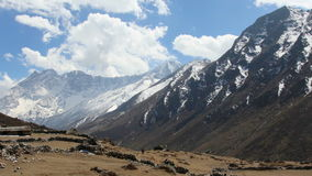Movement of the clouds on the mountains Kongde Ri, Himalayas, Nepal stock video