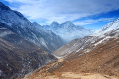 Movement of the clouds on the mountains Thaog, Himalayas, Royalty Free Stock Image