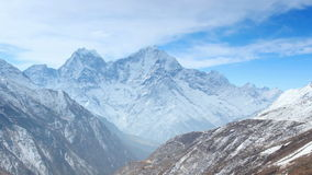Movement of the clouds on the mountains Thaog, Himalayas, Nepal. stock video footage