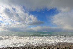 Movement of the clouds over the Black Sea. Pitsunda, Abkhazia Royalty Free Stock Photo