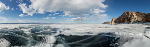 Movement of the clouds over the icy Lake Baikal on Olkhon Island Stock Photo