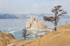 Movement of the clouds over the Lake Baikal. Burkhan Cape, Olkho Royalty Free Stock Photos