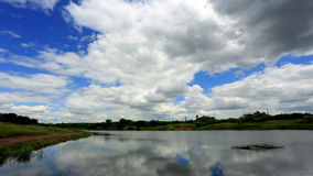 Movement of clouds over the reservoir. Donetsk, Ukraine, stock footage