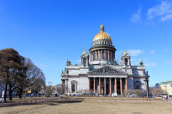 Movement of clouds over St. Isaac's Cathedral in St. Petersburg Royalty Free Stock Photos