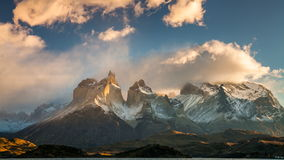 The movement of clouds over the towers of Cuernos. Parque Torres del Paine, Patagonia stock video