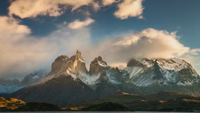 The movement of clouds over the towers of Cuernos. Parque Torres del Paine, Patagonia stock video footage