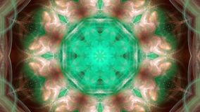 Movement of colored geometric shapes, decorative kaleidoscope.
