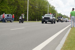 Movement of a column of bikers at the annual international meeting in Brest. Stock Photography