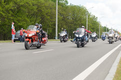 Movement of a column of bikers at the annual international meeting in Brest. Royalty Free Stock Photos