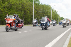 Movement of a column of bikers at the annual international meeting in Brest. Stock Images