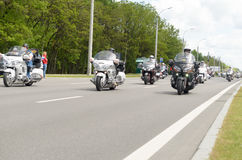 Movement of a column of bikers at the annual international meeting in Brest. Stock Image