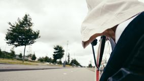 The movement of the cyclist on the asphalt from the first person. Rear view stock video footage