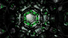 Futuristic digital abstract motion background Flight through an abstract endless tunnel of black-green rings. Looped 3D. Movement through an endless tunnel of vector illustration