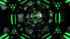 Futuristic digital abstract motion background Flight through an abstract endless tunnel of black-green rings. Looped 3D royalty free illustration