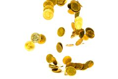 Movement of falling gold coin, flying coin, rain money isolated on white background, business and financial wealth and take profit. Concept idea royalty free stock images