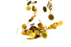 Movement of falling gold coin, flying coin, rain money isolated on white background, business and financial wealth and take profit. Concept idea stock photography