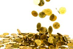 Movement of falling gold coin, flying coin, rain money isolated on white background, business and financial wealth and take profit. Concept idea stock photo