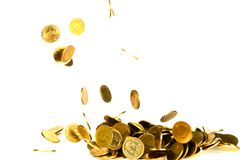 Movement of falling gold coin, flying coin, rain money isolated on white background, business and financial wealth and take profit. Concept idea stock image
