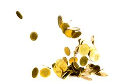 Movement of falling gold coin, flying coin, rain money isolated on white background, business and financial wealth and take profit. Concept idea royalty free stock image