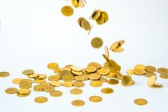 Movement of falling gold coin, flying coin, rain money with soft shadow on white background, business and financial wealth and. Take profit concept idea royalty free stock images