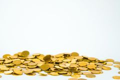 Movement of falling gold coin, flying coin, rain money with soft shadow on white background, business and financial wealth and. Take profit concept idea stock images