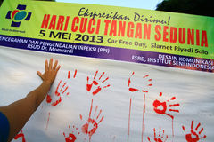 Movement Handwashing. Hygiene care activists held a hand washing movement activity in Central Java, Indonesia Royalty Free Stock Photos