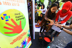 Movement Handwashing. Hygiene care activists held a hand washing movement activity in Central Java, Indonesia Stock Photography