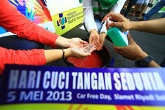 Movement Handwashing. Hygiene care activists held a hand washing movement activity in Central Java, Indonesia Stock Photo