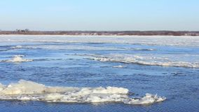 The movement of ice in the winter on the Volga. Russia. January stock video