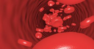 Movement inside the blood vessel platelets able to loop seamless