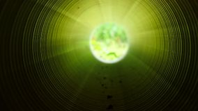 Movement inside of long plastic tube under ground. Colorful ribbed wall of plastic pipe. Green light at the circle end stock video footage