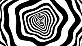 Tunnel or wormhole. Movement lines illusion. Abstract wave whith black and white curve lines. Vector optical illusion. Movement lines illusion. Abstract wave royalty free illustration