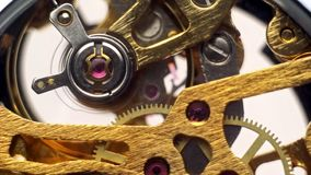 The movement of a mechanical watch closeup