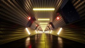Movement in the night tunnel with neon
