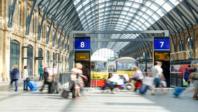 Movement of people in rush hour, train station, King's Cross in Royalty Free Stock Photography