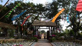 Movement of Prayer flags or Tung Flag stock video