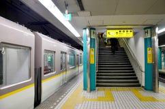 Movement of subway train Kintetsu running from Numba station run Royalty Free Stock Photos