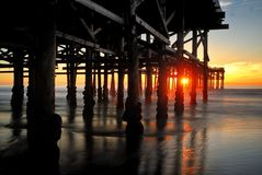 Long exposure sunset shot at the Pacific Beach pier in San Diego. stock photo