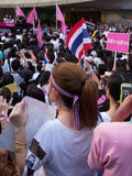 Movement to against amnesty laws in Thailand. BANGKOK - NOVEMBER 5: Representatives of Chulalongkorn University are speechify among people who disagree with the Stock Image