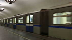 Movement of trains in Moscow subway. Movement of trains in the Moscow subway stock video footage