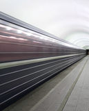 Movement of trains in the subway. Photo showing the movement Late in the subway. Reflects the concept of transport; speed Royalty Free Stock Image