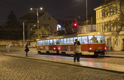 Movement of trams and pedestrians to nightlife Prague, Czech Republic.  Stock Photos