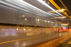 Movement of trams to nightlife Prague, Czech Republic.  Royalty Free Stock Image