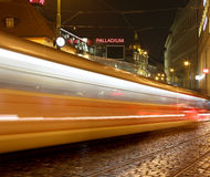 Movement of trams to nightlife Prague, Czech Republic.  Stock Photo