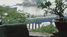 Movement of transport on the bridge stock video footage