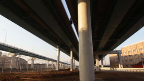 Movement under modern overpasses. Moscow stock video footage