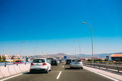 Movement of vehicles on freeway, motorway MA-20 Royalty Free Stock Photos